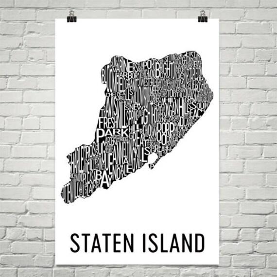 Staten Island Typography Neighborhood Map Art City Print