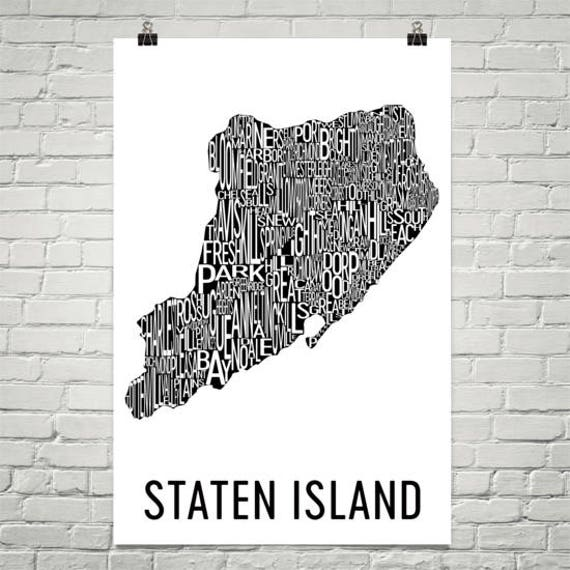 Staten island typography neighborhood map art city print like this item negle