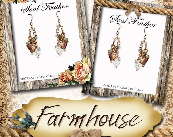 FARMHOUSE Series•Custom Tags•Labels•Earring Display•Clothing Tags•Custom •Boutique Card•Tags•Custom Tags•Custom Labels