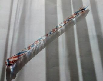 "Blue - Orange Spiral - 7 5/8"" LONG Glass Swizzle - Dab Tools - Essential Oils - Potions - Perfume - Serums - Lab Mixing - Minnesota"