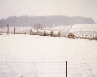 Snow Country Field Photo, Winter Photography, Neutral Hay Bales Picture, Rustic Farmhouse Fixer Upper Style Print, Home Decor Wall Art