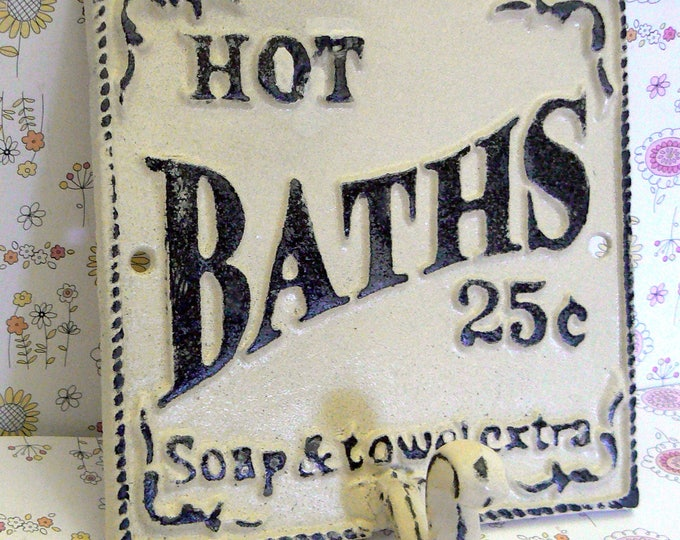 Hot Baths 25 Cents Soap Towels Extra Wall Hook Shabby Chic Off White Bathroom Decor