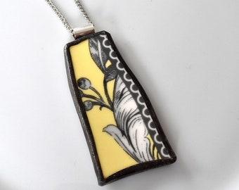 Broken China Jewelry Pendant - Yellow Black and White