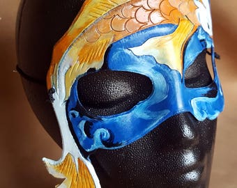 READY TO SHIP Koi Mask - Orange and Blue Fish and Water Hand Tooled and Hand Painted Leather Mask - Japanese Inspired Goldfish Mask