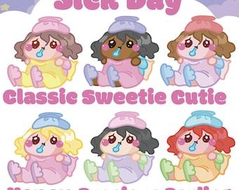 Sick Day Sammie    Planner Stickers, Cute Stickers for Erin Condren (ECLP), Filofax, Kikki K, Etc.    AS04
