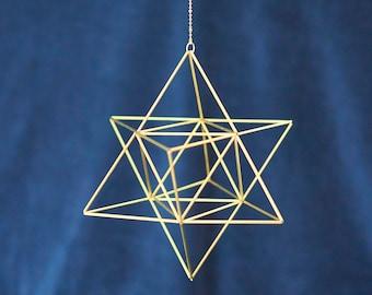 Merkaba, Himmeli Star Tetrahedron, sacred geometry, platonic solids, 3D David star, brass Mobile, hanging geometric decor, wedding decor
