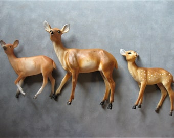 "Three Vintage Hard Plastic Deer, Doe 6"" Tall, and Two Fawns"