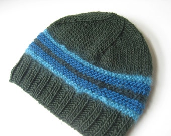 green blue wool cap knit green and turquoise wool hat