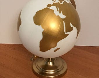 Hand Painted Globe | Globe Guestbook | Wedding Guestbook | Wedding Globe | Home Decor | Nursery | Travel | Wanderlust | White and Gold