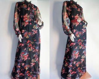70s Chiffon Maxi Dress - Vintage floral maxi dress - Sheer sleeves maxi dress