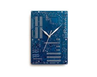 Dark Blue Large Wall Clock, Circuit Board Clock, Computer Clock, Modern Clock, Geek Wall Clock, Boyfriend Gift, Husband Gift, Office Decor .