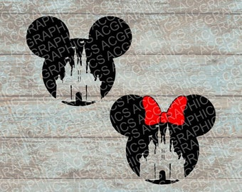 Mickey and Minnie Castle Mouse Heads SVG, DXF, JPEG, and Studio Downloads