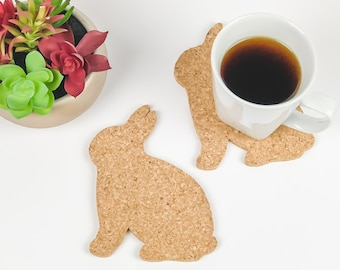 4 Bunny Coasters, Easter Bunny Decoration, Cork Coasters, Animal Lover Gift, Birthday Gift, Housewarming Gift, Rabbit Coasters, Spring Decor