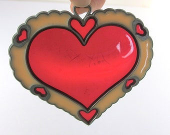 Plastic Stained Glass Heart, Vintage Suncatcher