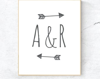 Initials print with arrows, Personalised couples print, Engagement print