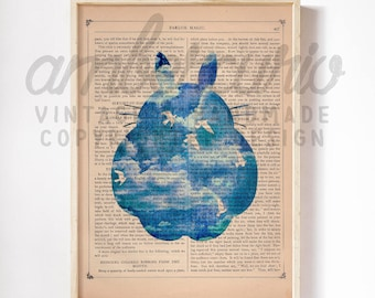 Blue Clouds Silhouette Dream Of Totoro Original Studio Ghibli Inspired Print on an Unframed Upcycled Bookpage