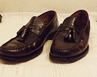 Vintage Freeman Men's Oxblood Leather Tassel Loafers Size 11 . 5