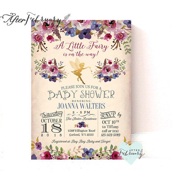 Fairy Baby Shower Invitation Plum Purple Enchanted Fall Baby