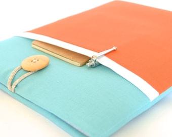 "Color Block MacBook Air 13 inch Case New MacBook 12"" Laptop Sleeve Case with Pocket Padded - Aqua + Orange"