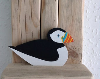 Wooden Puffin  seabird, coastal art, cornish collectibles, hand cut and painted, made in Cornwall