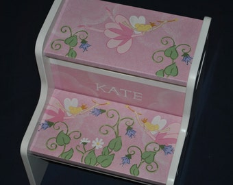 Fairy Princess-Kids Step Stool-Stool-Childrens Step Stool-Hand Painted-Girls Step Stool-Baby Shower-Kids' Furniture-Chair-Baby Gift
