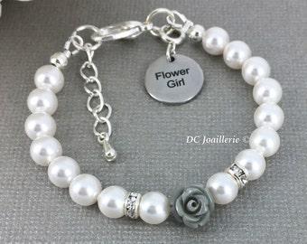 Flower Girl Bracelet Pearl and Flower Bracelet Swarovski Bracelet Gray Flower Bracelet Flower Girl Gift Flower Girl Jewelry