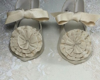 "Jumeau Style 4"" Beige Suede Bebe Doll Shoes with Rosettes & Silk Bows"