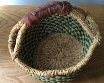 Small Green Woven Basket with Leather Handle