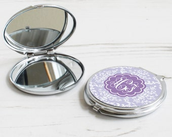 Damask Print Mirror – personalised compact mirror – floral pattern mirror – personalised bridesmaid gift - personalized pocket mirror - P09