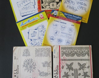 Hot Iron Transfers and Kaumagraphs, 7 patterns, two McCall vintage kaumagraphs for quilting and braiding, 5 Aunt Martha embroidery transfers