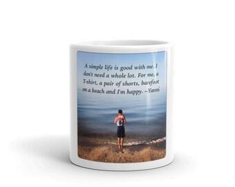 Beach/Ocean Photography Coffee Mug with Yanni quote
