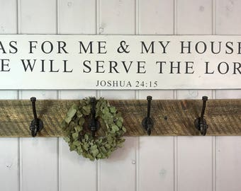 "As for me and my house sign | Rustic wood sign | scripture wall art | rustic wall decor | Joshua 24:15 | 48"" x 9.25"""