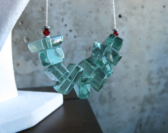 Long Chunky Green Glass Necklace