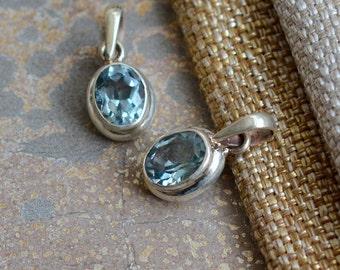 Gemstone Pendant Small Oval Faceted Blue Topaz Pendant Sterling Silver Small Blue Topaz Pendant December Birthstone Birthday Gift, One, BID