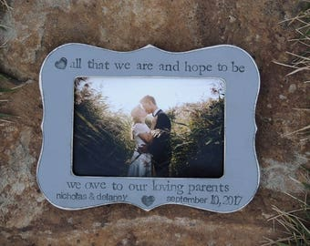Parent wedding gift frame, Parent thank you Gift Personalized wedding picture frame Mother Father groom bride gift Photo frame