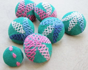 Fabric Covered Buttons -  Embroidered Cotton - 7pc