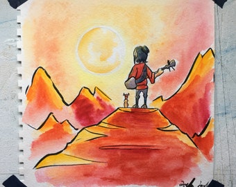 Kubo and the Two Strings - Watercolor Painting