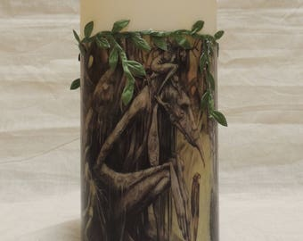Led Battery Operated Candle Decoupaged with Woodland Tree Spirits and Green Vines.