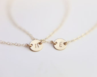 SS GF // Small initial Disc Bracelet / Initial Monogram Bracelets / Personalized Custom Jewelry