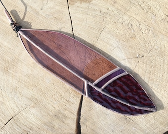 Stained Glass Feather Suncatcher Wine Rose