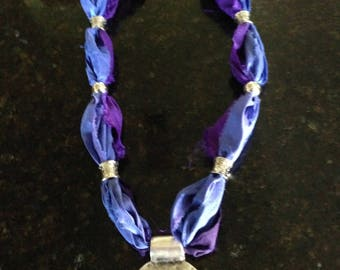 Deep Blue and Purple Sari Ribbon Necklace