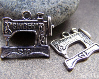 10 pcs of Antique Silver Sewing Machine Charms  18x20mm A1332