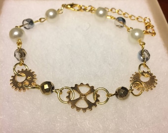 Gold Steam Punk Bracelet