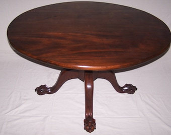 Table with Tilt-Top Exaggerated Ball & Claw hand carved/made by MasterCraftsman Gabriel Salas Free shipping in  the USA only