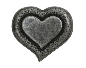 3 Heartbeat 3/4 inch ( 20 mm ) Dill Metal Button Silver Color