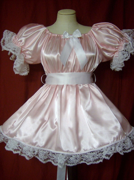 Adult Sissy Baby Satin Party Pageant Lil Girl Style Dress With