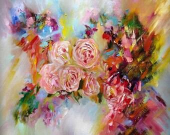 Pink Flower Rose Wall Art Painting Original Gift Idea, Room Decor Rose Original Painting Wall Art Print Pink Flower Art  Gift Idea (OP501)