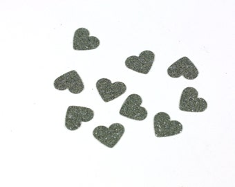 Little Silver Glitter Hearts - Table Scatter confetti - Cardstock Hearts - .5 inch hearts - Wedding and Party Decoration