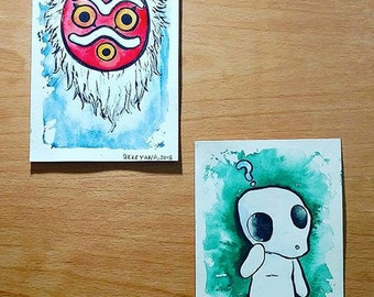 Princess Mononoke Mask and Kodama Original Watercolor Postcard (Studio Ghibli)