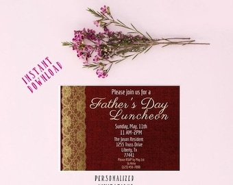 13% OFF SALE- DIGITAL Invitation Fathers Day Brunch Invitation Printable Fathers Day Invitation Instant Download Father's Day Party Invites